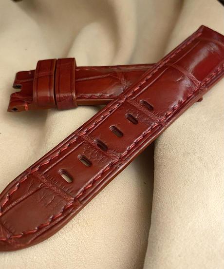 クロコダイル レザー 腕時計ベルト レッドブラウン (ラグ幅24mm - バックル幅22mm) cro-509