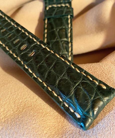 クロコダイル レザー 腕時計ベルト グリーン 24mm-22mm CRO-213