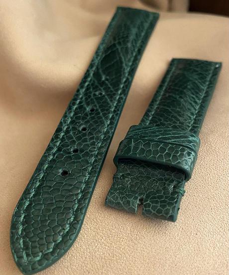 オーストリッチレザー 腕時計ベルト グリーン (ラグ幅20mm - バックル幅18mm) ost-106