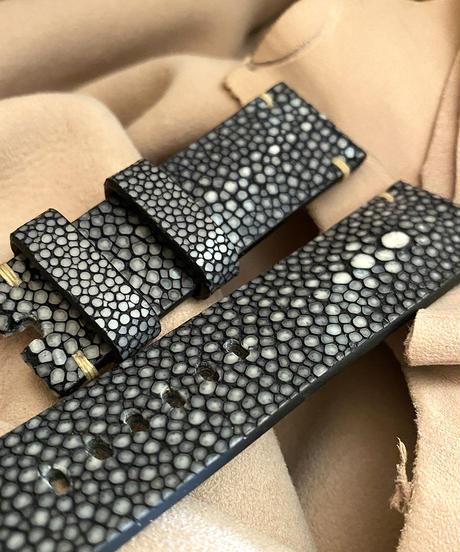 スティングレイ  腕時計ベルト ブラック (ラグ幅24mm - バックル幅22mm)  sti-69