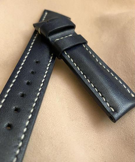 カーフ レザー 腕時計ベルト サンプル品 ダークブルー (ラグ幅20mm - バックル幅18mm) cal-02