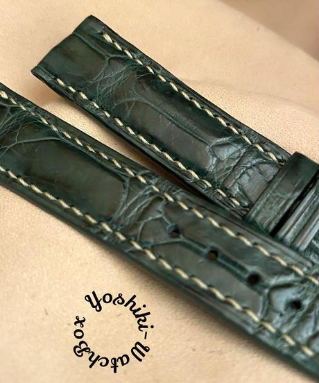 cro-556 クロコダイル レザー 腕時計ベルト グリーン (ラグ幅18mm - バックル幅16mm)