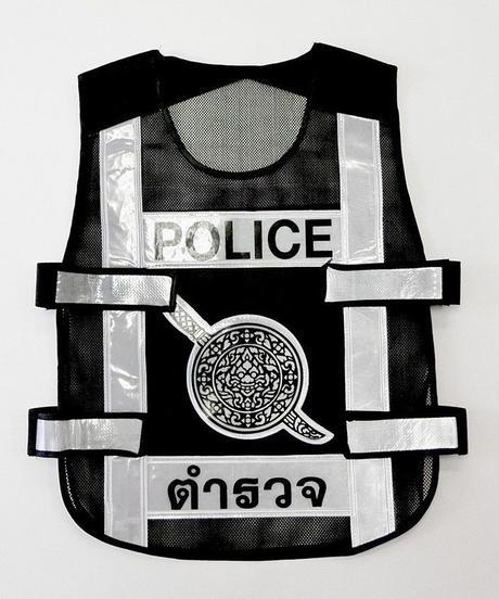 タイ警察メッシュビブス 黒/シルバー