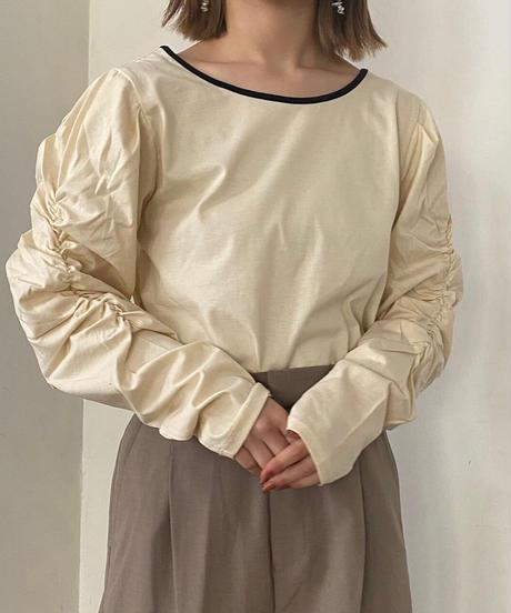 piping sleeve shirring blouse