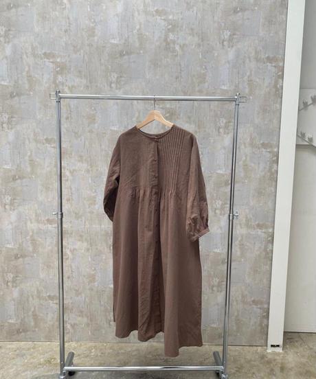 pin tuck shirt one-piece brown