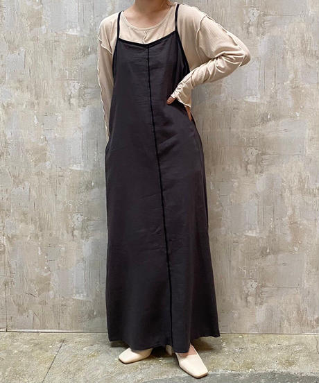 piping cami one-piece black