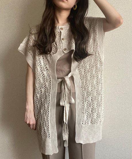 2way openwork knit vest  beige