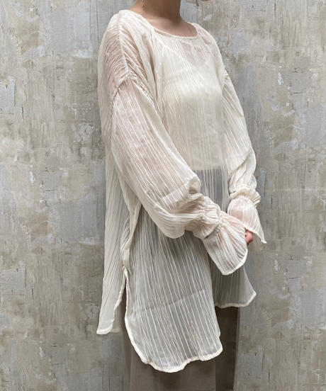 2way wave pleats blouse ecru