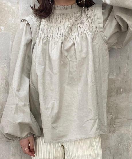shirring blouse gray
