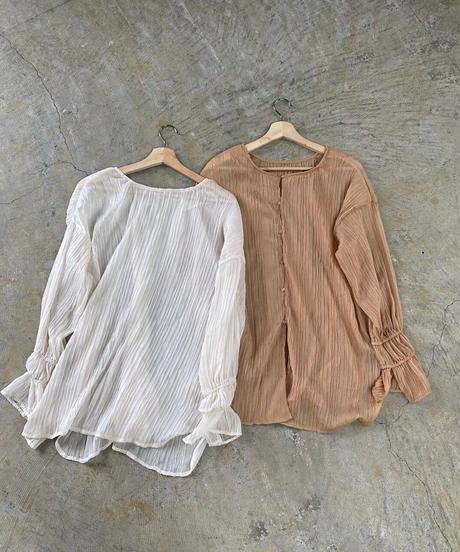 2way wave pleats blouse camel