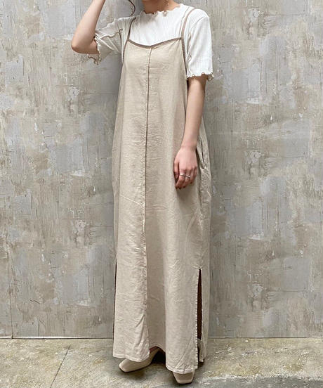 piping cami one-piece beige