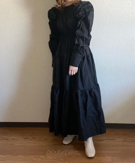 tiered one piece black