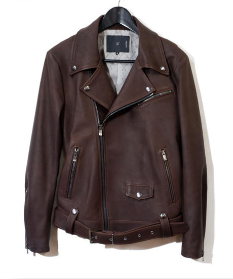 ys Yuji SUGENO (イース ユウジ スゲノ) 21045902B / Calfskin Belted Double Riders Jacket