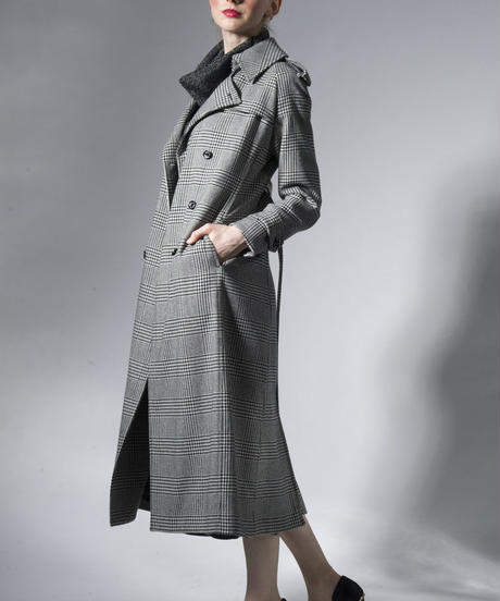Bennu(ヴェンヌ)  130631107 / CORDURA GLEN CHECK Long Trench Coat-GLENCHECK