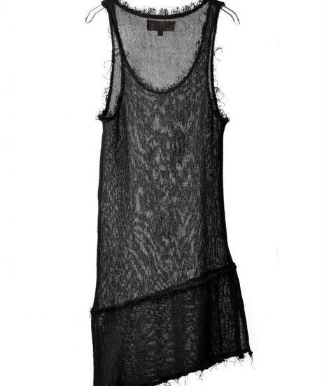 Bennu (ヴェンヌ)110510102/ Cut off long Tank top Knit-BLACK