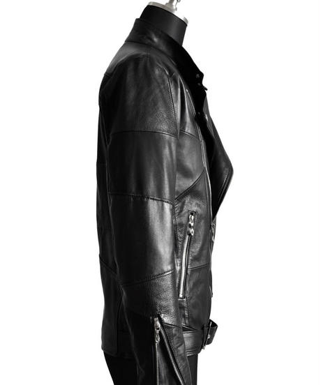 Bennu (ヴェンヌ) 110350901 / Patchwork Leather Stand Collar Riders Jacket