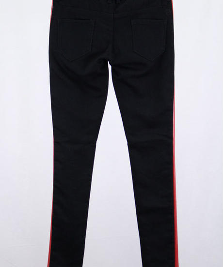 Bennu(ヴェンヌ)  110740503  /  Knit Denim Sideline skinny Pants-BLACK/R
