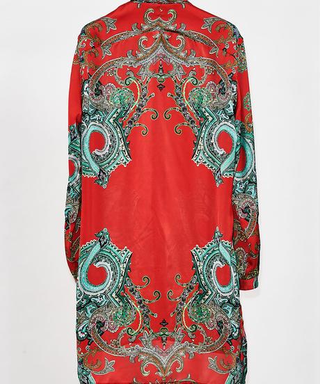 ys Yuji SUGENO (イース ユウジ スゲノ) 210330401-RED / Panel print short collar semi-long shirt