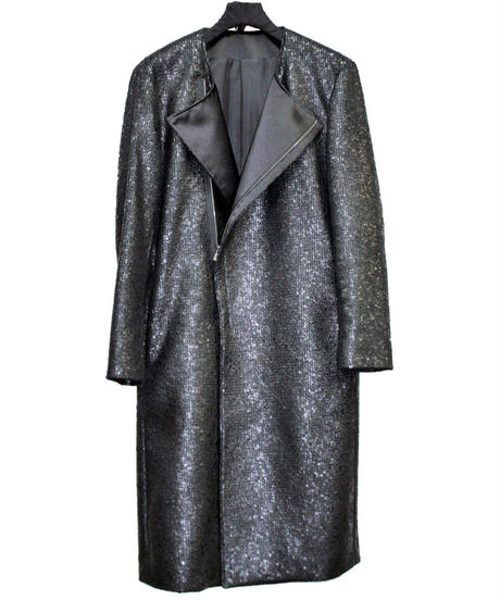 ys Yuji SUGENO (イース ユウジ スゲノ) 210831104 / Black Foil Tweed No Col lar Riders Coat