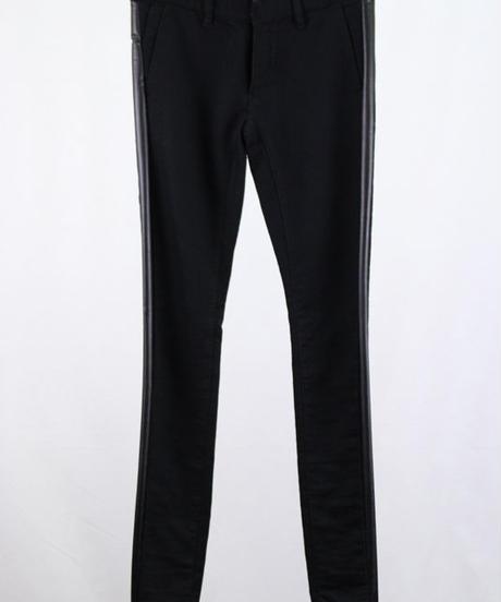 Bennu(ヴェンヌ)  120740503  /  Knit Denim Sideline skinny Pants-BLACK/B