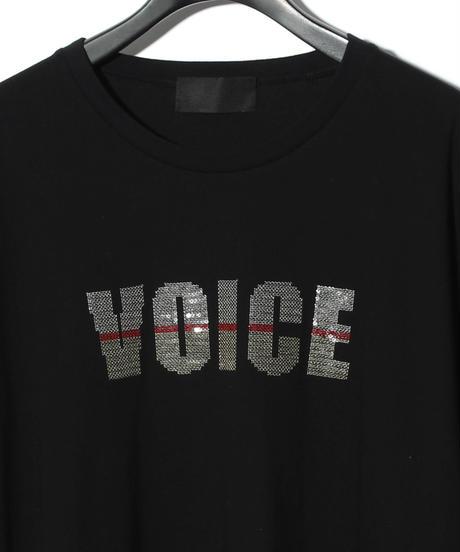 ys Yuji SUGENO (イース ユウジ スゲノ)  220210109 /  Sequin Embroidery Hemstep Big T / VOICE -BLACK