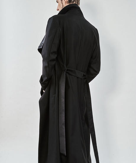ys Yuji SUGENO (イース ユウジ スゲノ) 210831102-BLACK / Tuxedo Cross High Color Wrap Maxi Coat