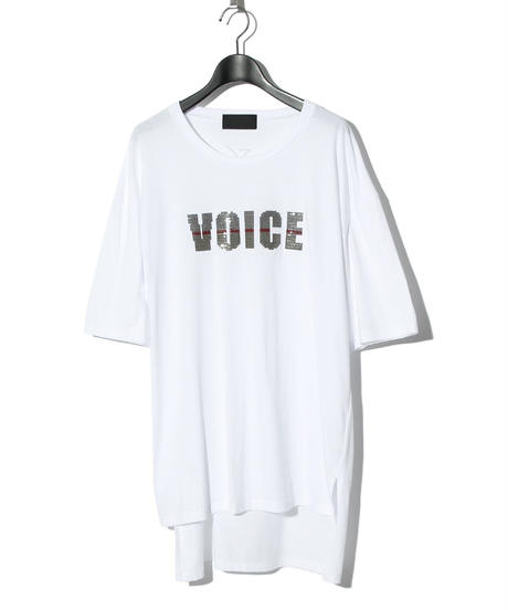 ys Yuji SUGENO (イース ユウジ スゲノ)  220210109 /  Sequin Embroidery Hemstep Big T / VOICE -WHITE