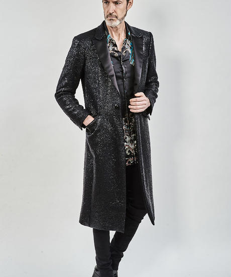 ys Yuji SUGENO (イース ユウジ スゲノ) 210231106-BLACK / Black foil tweed chester long coat
