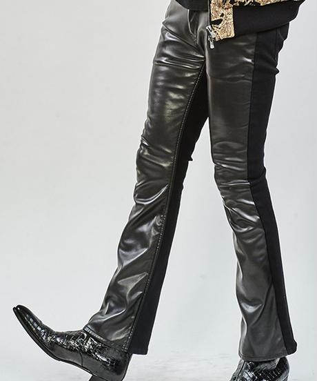 ys Yuji SUGENO (イース ユウジ スゲノ)  210340505-BLACK / Royal Leather Changing Stretch  boot cut Pants