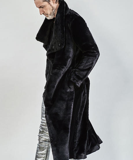 ys Yuji SUGENO (イース ユウジ スゲノ) 210331102-BLACK / Fur changing high color wrap maxi coat