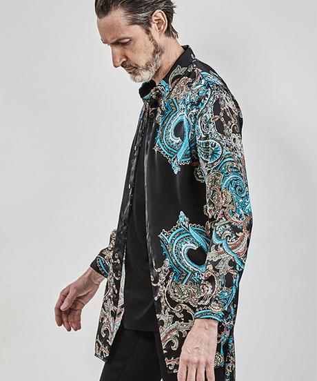 ys Yuji SUGENO (イース ユウジ スゲノ) 210330401-BLACK / Panel print short collar semi-long shirt