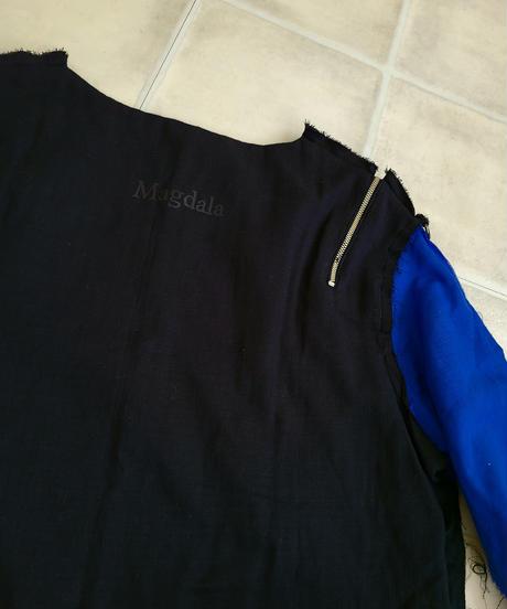 【Magdala】Gauze-BLUE-Sleeve Shirt