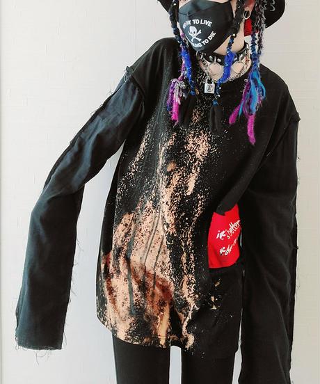 【Magdala】Gauze Sleeve Long T-shirt (blk)