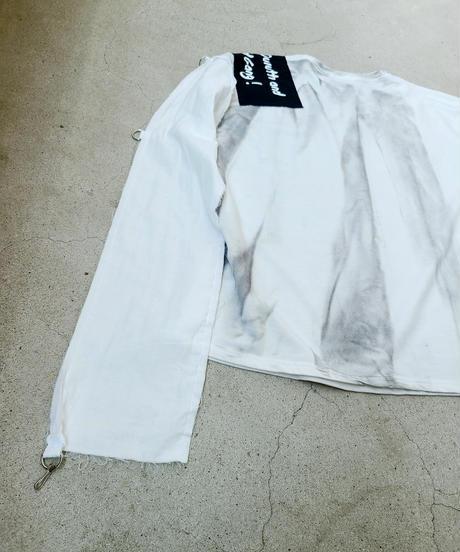 【Magdala】Gauze Sleeve Long T-shirt (wh)
