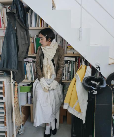 Hand aran knit scarf WHITE