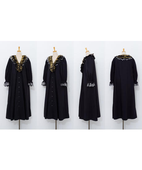Foil lace dress BLACK