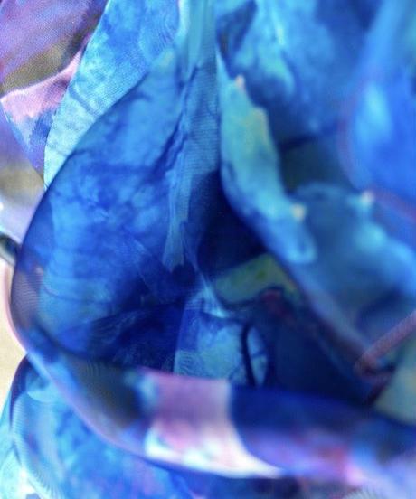 グラデーションシフォンマスク(ネックカバー付き)  blue〜purple
