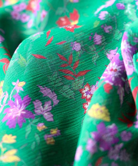 楊柳フラワープリントマスク(ネックカバー付き) green