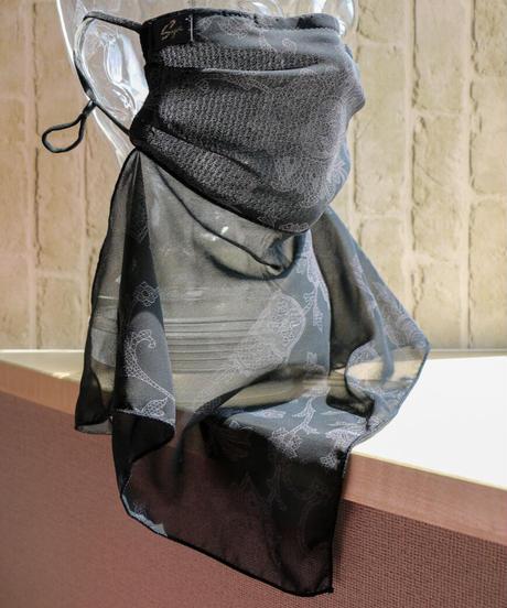 バティックプリントマスク(ネックカバー付き)  black