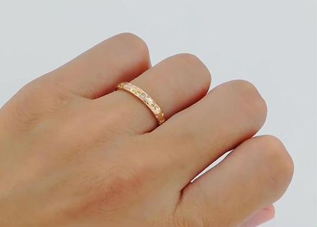 桜指輪 – k18 – ピンクーゴールド – ペアリング – ダイヤメレ入り –