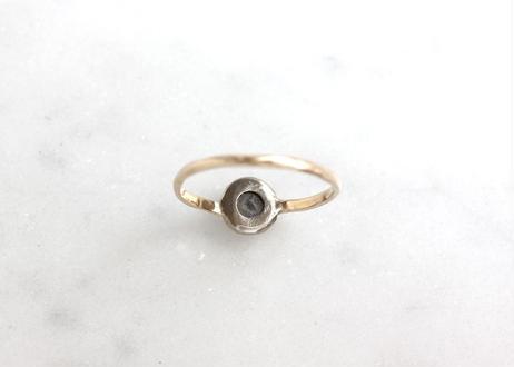 rose cut diamond+K10リング