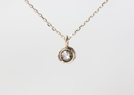 rose cut diamond+ K10ネックレス