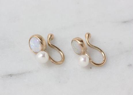 Opal+Pearl +K10イヤリング
