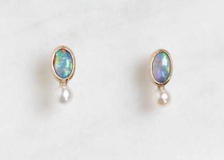 Opal+Pearl+K10ピアス