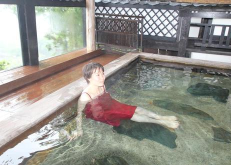 女性用湯浴み着ワインレッド(日本製)ワンピースタイプ