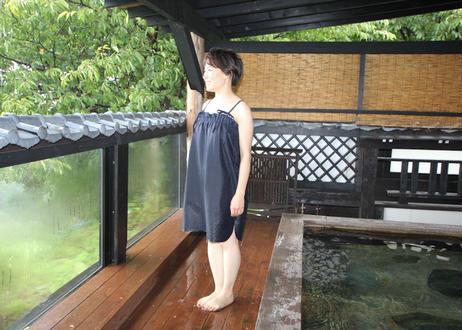 女性用湯浴み着ブルー(日本製)ワンピースタイプ