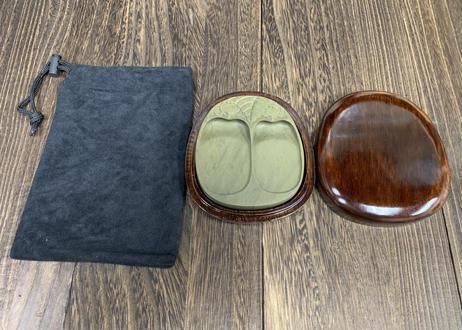 緑端渓 双瓜硯 4インチ