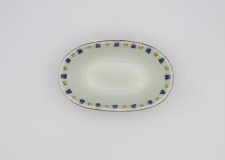 古川章蔵 色絵磁器黄青線フチ銀線巻き楕円小鉢