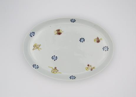 清水なお子 色絵磁器宝ずくし楕円皿