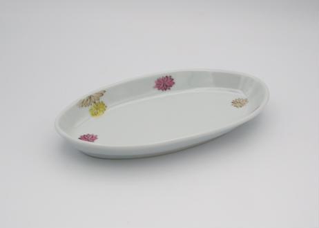清水なお子 色絵花散らし楕円小皿